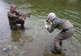 Team work with New Zealand Fly Fishing Guide, Tony Entwistle.