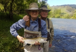 Jill Atkinson NZL with New Zealand Fly Fishing Guide, Tony Entwistle.