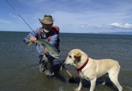 Bruce checking on the catch ... as always