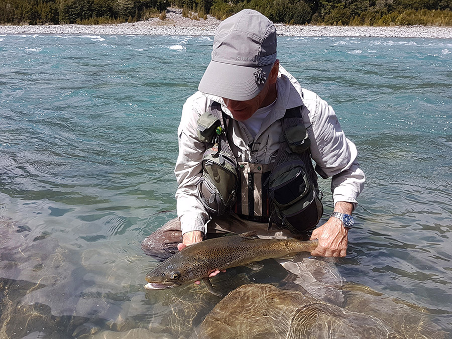 Releasing a Large Marlborough High Country Trout, New Zealand Fly Fishing
